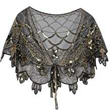 PrettyGuide Women's 1920s Shawl Beaded Evening Wraps Flapper Bolero