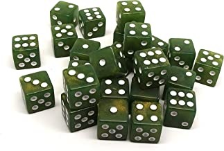 Easy Roller Dice Co. 25 Count D6 Collection - Chartreuse Green with White Pips - Perfect for Tabletop Wargames and RPGs