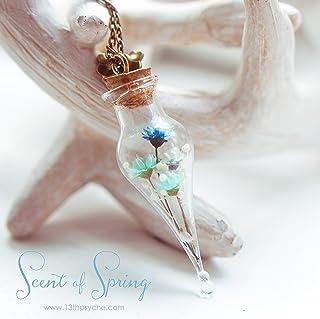 Fiore collana flacone di profumo, terrario in miniatura. Collana bottiglia di vetro. regalo per le donne, fiori secchi cio...