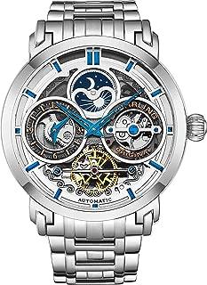 Stuhrling Original Mens Automatic-Self-Wind Luxury Dress Skeleton Dual Time Gold-Tone Wrist-Watch 22 Jewels 47 mm Stainless Steel Case