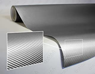 VViViD XPO Sterling Silver 3D Carbon Fiber Vinyl Wrap Roll with Air Release Technology (25ft x 5ft)