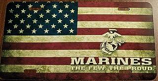 USMC Custom License Plate US Marines Corps Emblem The Few / USA Flag Version