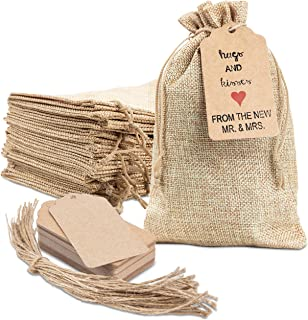 """25x Burlap Bags with Drawstring by DA THYME! 5x7.5"""" Small Party Favor Gift Bags + Bonus Gift Tags & String! Brown Bags Bul..."""