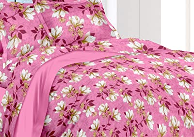 California King by MAFATLAL , 100% Cotton Bedsheets for Double Bed with 2 Pillow Covers , Hypo Allergenic   Soft Finish   Wrinkle Free King Size Bedding Set Combo (Pink Rose)