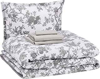 Amazon Basics 6-Piece Ultra-Soft Microfiber Bed-In-A-Bag Comforter Bedding Set - Twin/Twin XL, Grey Chinoiserie