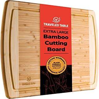 Bamboo Cutting Board - Extra Large Wooden 18 x 12 Inch Wood Cutting Boards for Kitchen with Juice Drip Groove - Best Organ...