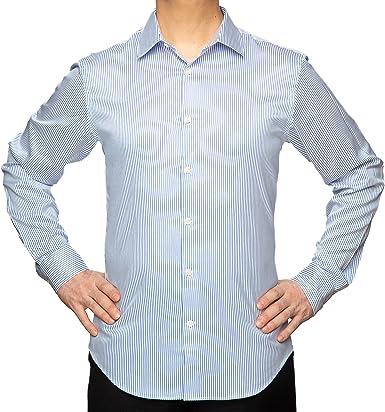 studio basics 38 Camisa de Vestir en Puro Algodón de Doble torsión a Rayas Azules para Hombre Corte Slim fit – Esay Care