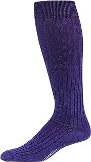 Boardroom Socks Merino Wool Dress Socks for Men, Over-the-Calf Socks, Ribbed Dress Socks, Purple