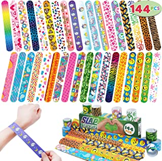 JOYIN 144 Pcs Slap Bracelets Wristbands with Emoji, Animals, Friendship, Heart Print Design, for Kids Valentine's Day Party Favors, Classroom Prizes Exchanging Gifts