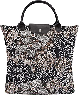Signare Tapestry Stylish Foldaway Reusable Grocery Eco-Friendly Shopping Tote Bag in Gustav Klimt The Kiss (FDAW-KISS)