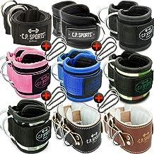 C.P. Sports Enkelbandjes, 2-delige set, gevoerd, één maat, met D-ring + 1 paar karabijnhaken voor kabeltrekkoord, bodybuil...