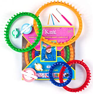 Mira Handcrafts Complete Round Knitting Loom Kit | 4 Knitting Circle Looms, 4 Pompom Makers, 3 Plastic Needles, 1 Soft Gri...