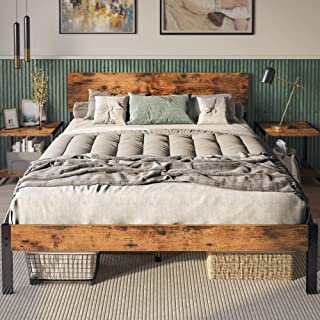 LIKIMIO Queen Bed Frame with Headboard, Strong Steel Slat Support, Tool-Free Assembly, Underbed Storage Space, No Box Spri...