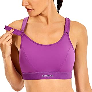 SYROKAN Women's Plus Size Wirefree Full Support High Impact Sports Bra with Adjustable Straps