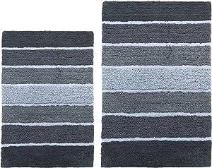 Chardin Home Cordural Stripes Bath Mat, Set of 2 Bath Rugs (21 Inches x34 Inches & 24 Inches x40 Inches)   Non Slip Bathroom Rug, Machine Washable, Plush, Highly Absorbent   Ombre Dark Grey & White
