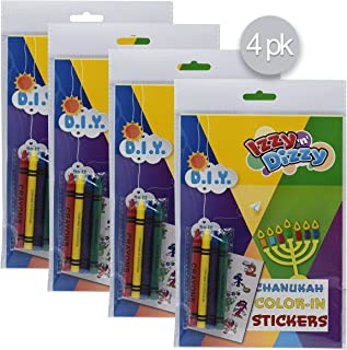 """Hanukkah Color-in Stickers Art Kit - 4 Pack - Includes 8"""" x 6"""" board and 4 Crayons - Chanukah Arts and Crafts - Gifts and ..."""