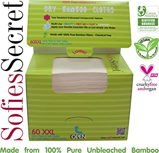 SofiesSecret Unbleached Bamboo DRY Wipes, Extra Thick, XXL, Refill 60 Count – Multi