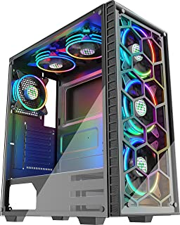 MUSETEX ファントム ブラック ATX ミッドタワー デスクトップ コンピューター ゲーミングケース USB 3.0ポート 強化ガラスウィンドウ 120mm LED ARGB ファン 6個 プリインストール済み (ブラック903S6)