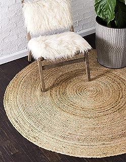Fernish Decor Jute Braided Rug, Carpet, Best for Bedroom Living Room (90 cm, Round)