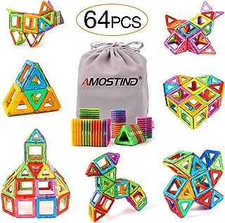 AMOSTING Magnetic Blocks for Kids, Magnetic Tiles Building Blocks Set STEM Educational Toys for Boys and Girls with Storage Bag - 64pcs