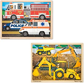 Melissa & Doug Vehicles Wooden Jigsaw Puzzles Set - Construction and Rescue (24 pcs)