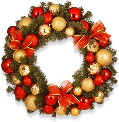 National Tree 30 Inch Gold and Red Mixed Ornament Wreath (RAC-16001)
