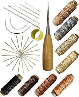 7 Pcs Curved Upholstery Hand Sewing Needles with 8 Colors 30 Yards per Spool 150D Leather Waxed Thread Cord and Drilling Awl and Thimble and 25 Pcs Large-Eye Stitching Needles for Leather Repair