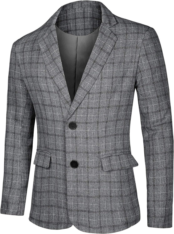 Lars Amadeus Men's Dress Plaid Blazer Button Lightweight Slim Fit Checked Suit Sport Coat Jacket