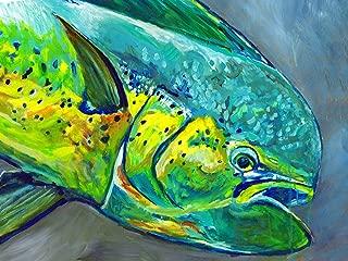 Dolphinfish Decor, Mahi Mahi Fishing Wall Art Print, Mahi Mahi Painting Print, Hand Signed Fishing Gift By Jack Tarpon, Modern Colorful Fish Artwork