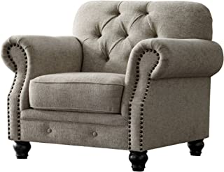 Acanva Collection Luxury Chesterfield Chenille Living Room Sofa, Couch, Almond