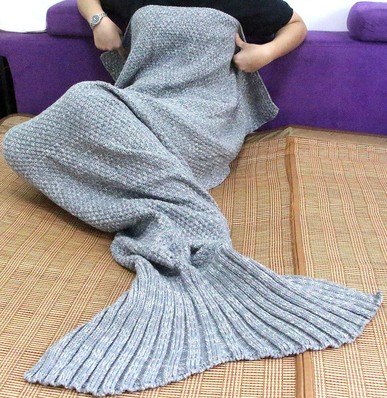 Handmade Soft Crochet Mermaid Blankets Knitted Pattern Seasons Sleeping Blankets Adult Women,Girls,Teens Sun Cling