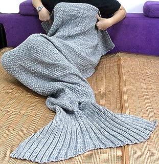 Sun Cling Handmade Soft Crochet Mermaid Blankets Knitted Pattern Seasons Sleeping Blankets Adult for Women,Girls,Teens