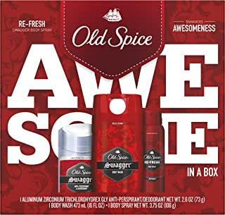 Old Spice Swagger Antiperspirant and Deodorant + Wash + Body Spray, Gift Pack