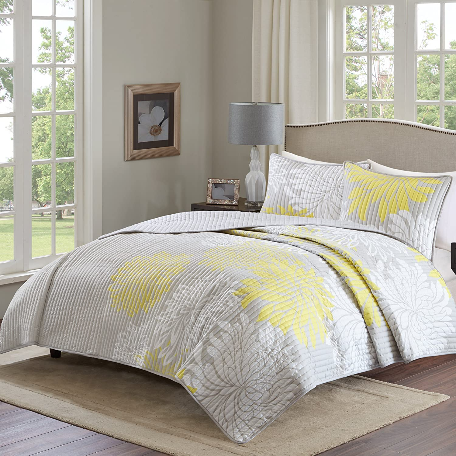 """Comfort Spaces Enya 3 Piece All Season, Lightweight Coverlet, Cozy Bedding, Matching Shams, Decorative Pillows, Full/Queen(90""""x90""""), Yellow"""