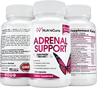 NutraCura Adrenal Support for Women - Adrenal Fatigue Supplement - Cortisol Manager - A Complex Formula of Natural Ingredi...