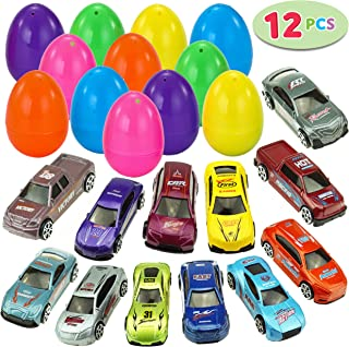 "12 Die-Cast Car Filled Big Easter Eggs, 3.2"" Bright Colorful Prefilled Plastic Easter Eggs with Different Die-cast Cars"