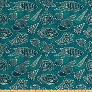Ambesonne Sea Shells Fabric by The Yard, Nautical Ocean Pattern Underwater World Sea Life Theme Sketch Style, Decorative Fabric for Upholstery and Home Accents, 1 Yard, Petrol Blue