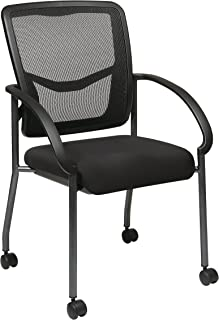 Office Star Breathable ProGrid Back and Padded Coal FreeFlex Seat, Contour Arms, Titanium Finish Stacking Visitors Chair w...