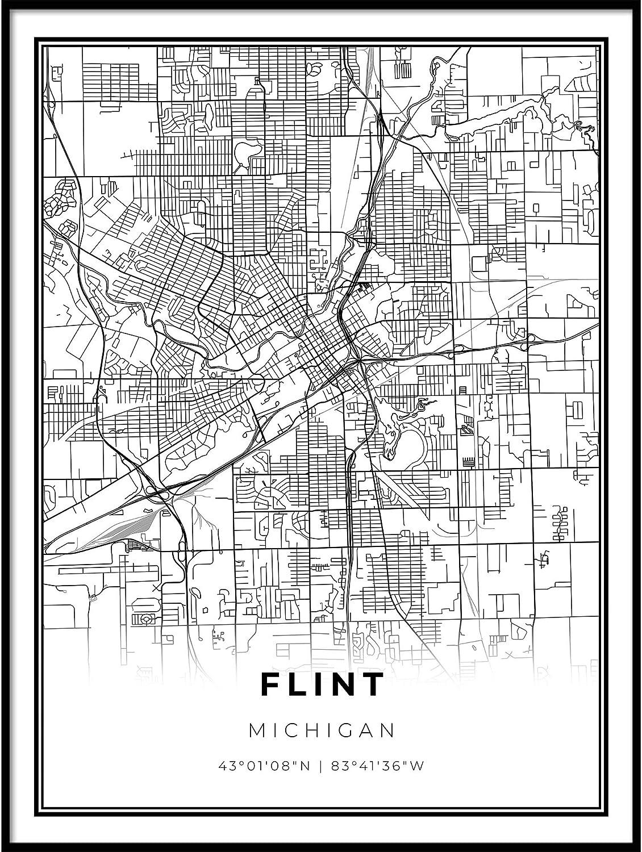 Skanndi Flint Map Print Michigan Poster SEAL limited product MI Art Modern USA Max 54% OFF
