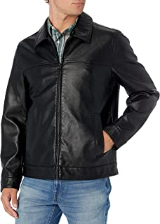 Men's Classic Faux Leather Laydown Collar Jacket