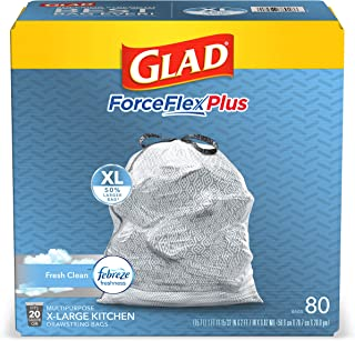 Glad ForceFlexPlus XL X-Large Kitchen Drawstring Trash Bags - 20 Gallon Grey Trash Bag, Fresh Clean with Febreze Freshness...