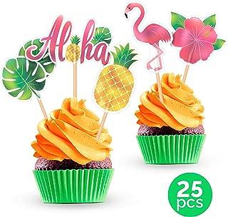 Luau Flamingo Pineapple Hawaiian Cupcake Cake Toppers - Hawaii Tropical Summer Theme Birthday Party Baby Shower Decorations Supplies - 25 PCS