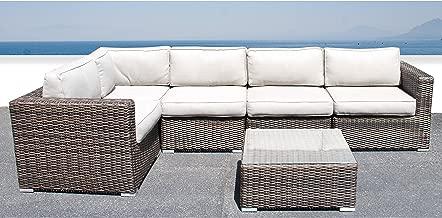 Living Source International Sectional Sofa, Wicker Furniture Outdoor Wicker Patio Furniture Sofa Garden Furniture Set (Brown)