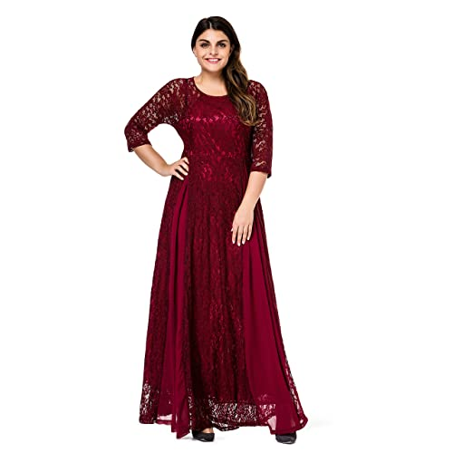 3bdf746eef7 ESPRLIA Women s Plus Size Floral Lace 3 4 Sleeve Wedding Maxi Dress