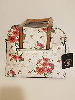 Beverly Hills Polo Club Womens Faux Leather Logo Printed White, tan and floral medium tote handbag