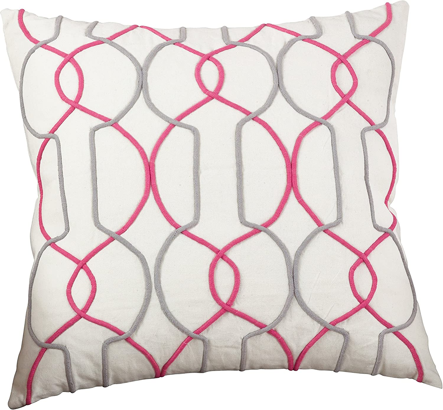 SARO LIFESTYLE The para Collection Cord Embroidered Geo Design Cotton Throw Pillow, Down Filled