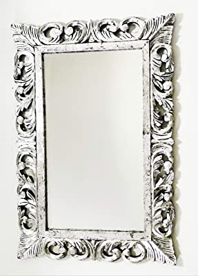 Bapna Monica Mango Wood Wall Hand Carved Mirror Frame in Silver Foil Finish (90 X 60 cm, Big Size)