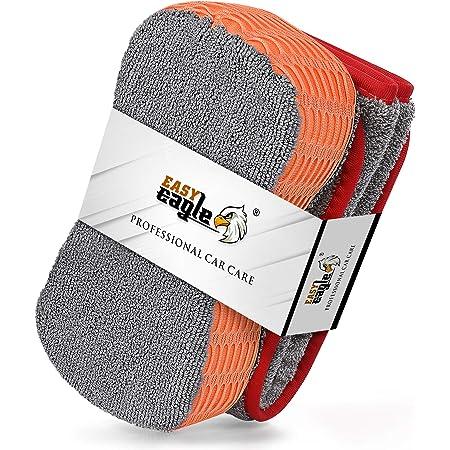 EASY EAGLE Chiffons Microfibre et Eponge Voiture Kit de Nettoyage, 1200GSM Serviette de Sèchage et Éponge de Lavage pour Auto Moto