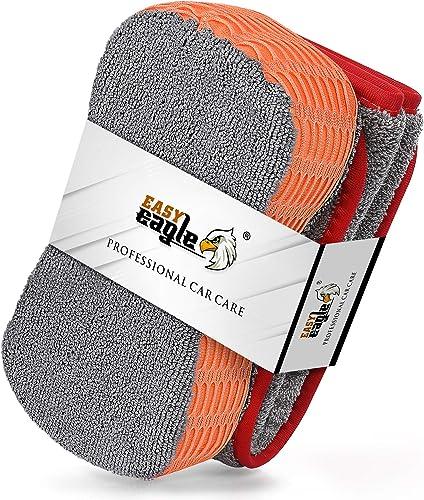 EASY EAGLE Chiffons Microfibre et Eponge Voiture Kit de Nettoyage, 1200GSM Serviette de Sèchage et Éponge de Lavage p...
