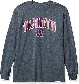 NCAA Washington Huskies Mens Dark Heather Arch Long Sleeve Tee, Washington Huskies Dark Heather, Small